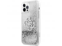 Husa Plastic - TPU Guess Big 4G Liquid Glitter Silver pentru Apple iPhone 12 / Apple iPhone 12 Pro, Transparenta GUHCP12MLG4GSI