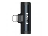 Adaptor Audio Lightning - Lightning / Lightning Remax SMOTH Series, Cu Port Incarcare, Negru RL-LA04i