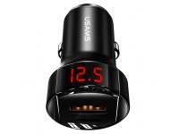 Incarcator Auto USB Usams C19, Quick Charge, 42W, 1 X USB - 1 X USB Tip-C, Afisaj, Negru CC113TC01