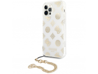 Husa Plastic - TPU Guess Chain Peony pentru Apple iPhone 12 / Apple iPhone 12 Pro, Aurie GUHCP12MKSPEGO