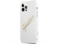 Husa Piele Guess Vintage Script Gold Logo pentru Apple iPhone 12 Pro Max, Transparenta GUHCP12LKTRSVGO