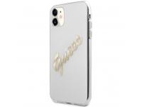 Husa Piele Guess Vintage Script Gold Logo pentru Apple iPhone 11, Transparenta GUHCN61KTRSVGO