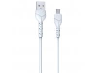 Cablu Date si Incarcare USB la MicroUSB DEVIA Kintone, 1 m, 2.1A, Set 30 buc, Alb