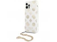 Husa Plastic - TPU Guess Chain Peony pentru Apple iPhone 12 Pro Max, Aurie GUHCP12LKSPEGO