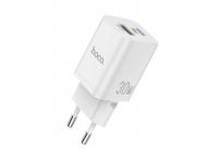 Incarcator Retea USB HOCO N13 Bright, Quick Charge, 30W, 1 X USB - 1 X USB Tip-C, Alb