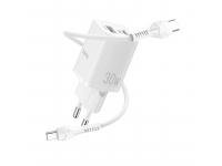 Incarcator Retea cu cablu USB Type C HOCO N13 Bright, Quick Charge, 30W, 1 X USB - 1 X USB Tip-C, Alb