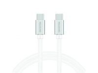 Cablu Date si Incarcare USB Type-C la USB Type-C Swissten Textile, 2 m, 3A, Argintiu