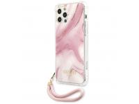 Husa Plastic - TPU Guess Marble pentru Apple iPhone 12 Pro Max, Roz GUHCP12LKSMAPI