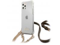 Husa Plastic - TPU Guess 4G Chain pentru Apple iPhone 12 / Apple iPhone 12 Pro, Cu Snur Auriu, Transparenta GUHCP12MKC4GSGO