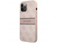 Husa Piele Guess 4G Printed Stripe pentru Apple iPhone 12 Pro Max, Roz GUHCP12L4GDPI