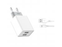 Incarcator Retea cu cablu USB Tip-C XO Design L65, 2.4A, 2 X USB, Alb