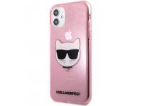 Husa TPU Karl Lagerfeld Choupette Head Glitter pentru Apple iPhone 11, Roz KLHCN61CHTUGLP
