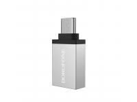 Adaptor OTG USB la USB Type-C Borofone BV3, Argintiu