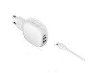 Incarcator Retea cu cablu USB Tip-C Ldnio A3510Q, Quick Charge, 28.5W, 1m, 1 X USB Tip-C - 2 X USB, Alb