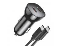 Incarcator Auto cu cablu USB-Type C Choetech, Quick Charge, 40W, 2 x USB Tip-C, Negru TC0008