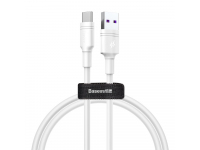 Cablu Date si Incarcare USB la USB Type-C Baseus Double Ring, 2 m, 5A, Alb CATSH-C02