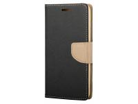 Husa Piele OEM Fancy pentru Samsung Galaxy A22, Neagra Aurie