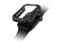 Husa Protectie Ceas UNIQ Torres 9H Apple Watch Series 4 Aluminum / Apple Watch Edition Series 5 / Apple Watch Series 6, 44mm, Neagra