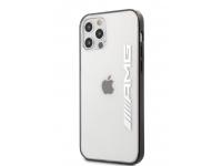 Husa TPU AMG pentru Apple iPhone 12 Pro Max, Mettalic Black Edges, Transparenta AMHCP12LAESLBK