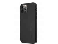 Husa Piele AMG pentru Apple iPhone 12 Pro Max, Big Stamped Logo, Neagra AMHCP12LDOLBK