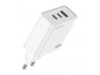 Incarcator Retea USB DUX DUCIS C90 GaN, Quick Charge, 65W, 1 X USB - 2 x USB Tip-C, Alb