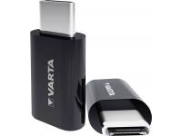 Adaptor Conversie MicroUSB la USB Type-C Varta, Negru