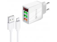 Incarcator Retea cu cablu Lightning OEM QC-07C, Quick Charge, Afisaj, 30W, 3 x USB, Alb