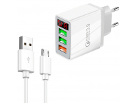 Incarcator Retea cu cablu MicroUSB OEM QC-07A, Quick Charge, Afisaj, 30W, 3 x USB, Alb