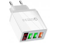 Incarcator Retea USB OEM QC-07, Quick Charge, Afisaj, 30W, 3 x USB, Alb