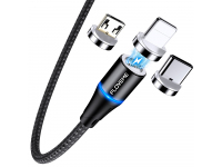 Cablu Incarcare USB la Lightning / USB Type-C / MicroUSB Floveme, 2 m, Magnetic, 3A, Negru