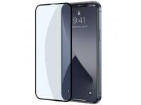 Folie Protectie Ecran Baseus pentru Apple iPhone 12 / Apple iPhone 12 Pro, Sticla securizata, Full Face, Anti-Bluelight, Set 2buc, 0.3mm, Neagra SGAPIPH61P- KB01