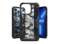Husa Plastic - TPU Ringke Fusion X Design Camo pentru Apple iPhone 13 Pro, Neagra
