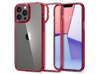 Husa Plastic - TPU Spigen ULTRA HYBRID pentru Apple iPhone 13 Pro, Rosie Transparenta