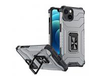 Husa Plastic - TPU OEM Crystal Ring Tough Armor Kickstand pentru Apple iPhone 13, Neagra