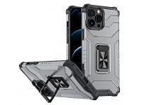 Husa Plastic - TPU OEM Crystal Ring Tough Armor Kickstand pentru Apple iPhone 13 Pro Max, Neagra