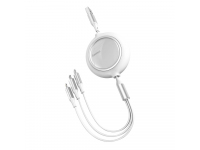 Cablu Incarcare USB la Lightning / USB Type-C / MicroUSB Baseus Bright Mirror, 1.2 m, Alb CAMLT-MJ02