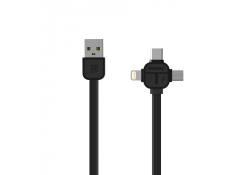 Cablu de date USB - MicroUSB Lightning USB Type-C Remax RC-066TH 3in1 1m Blister Original