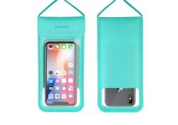 Husa Joyroom JR-CY701 Waterproof IPX8 pentru Telefon, Dimensiuni interioare 165 x 87 mm, Turquoise, Blister