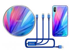 Pachet promotional Nillkin Incarcator Wirelles MC034  + Cablu Date si Incarcare USB la Lightning - USB la MicroUSB - USB la USB Type-C + Husa plastic pentru Apple Iphone X, Albastru, Blister