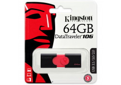Memorie Externa Kingston Data Traveler 106 U3, USB 3.0 - USB 3.1, 64Gb, Neagra - Rosie, Blister DT106/64GB