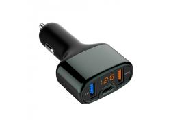 Incarcator Auto USB Tellur Fast charger CCY4 cu afisaj, 1 X USB Tip-C - 2 X USB, Negru, Blister TLL151171