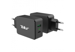 Incarcator Retea USB Tellur Qualcomm Quick Charge, 1 X USB - 1 X USB Tip-C, Negru, Blister TLL151071