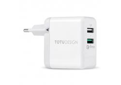 Incarcator Retea USB Totu Design Travel, 2 X USB, 18W, Quick Charge, Alb