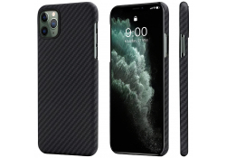 Husa Fibra Aramida Pitaka MagEZ pentru Apple iPhone 11 Pro Max, Car Case Magnet, Tesatura diagonala (Twill), Neagra Gri, Blister KI1101M