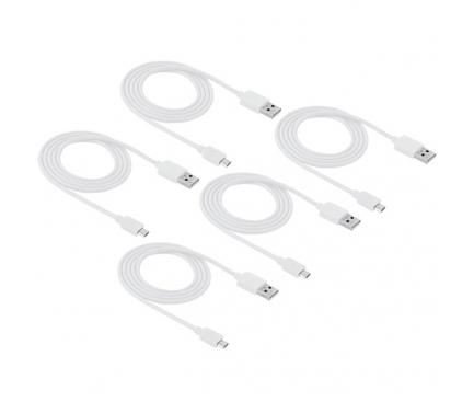 Set cablu de date MicroUSB Haweel alb (5 bucati) Blister Original