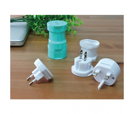 Adaptor priza international Usams Alb Blister Original