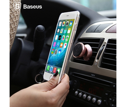 Suport auto Apple iPhone 7 Baseus 360 Magnetic Vent Mount negru auriu Blister Original