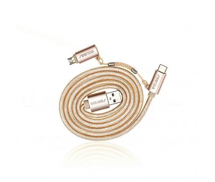 Cablu de date USB - MicroUSB USB Type-C Seenda 2in1 Roz