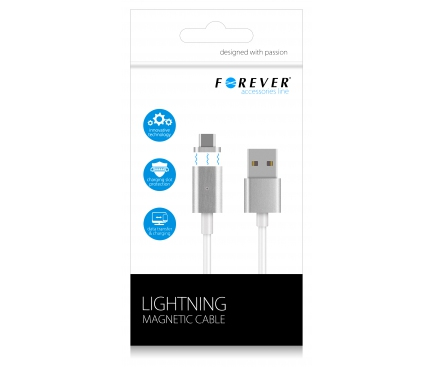 Cablu date MicroUSB Forever Magnetic alb Blister