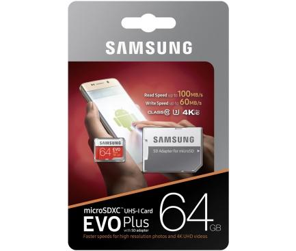 Card memorie Samsung EVO MicroSDXC 64GB UHS-I U3 MB-MC64GA/EU Blister